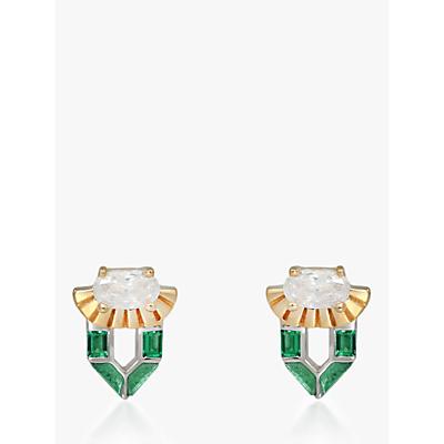 V by Laura Vann Freya Stud Earrings, Gold/Green