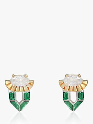 V by Laura Vann Freya Stud Earrings, Gold/Green