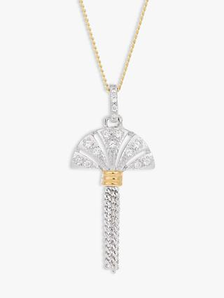 V by Laura Vann Luella Fan and Tassel Pendant Necklace, Gold/Silver
