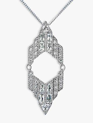 V by Laura Vann Chrysler Sterling Silver Cubic Zirconia Pendant Necklace, Silver