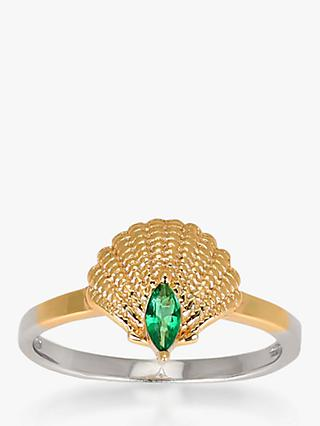 V by Laura Vann Pamela Shell Ring, Gold/Green