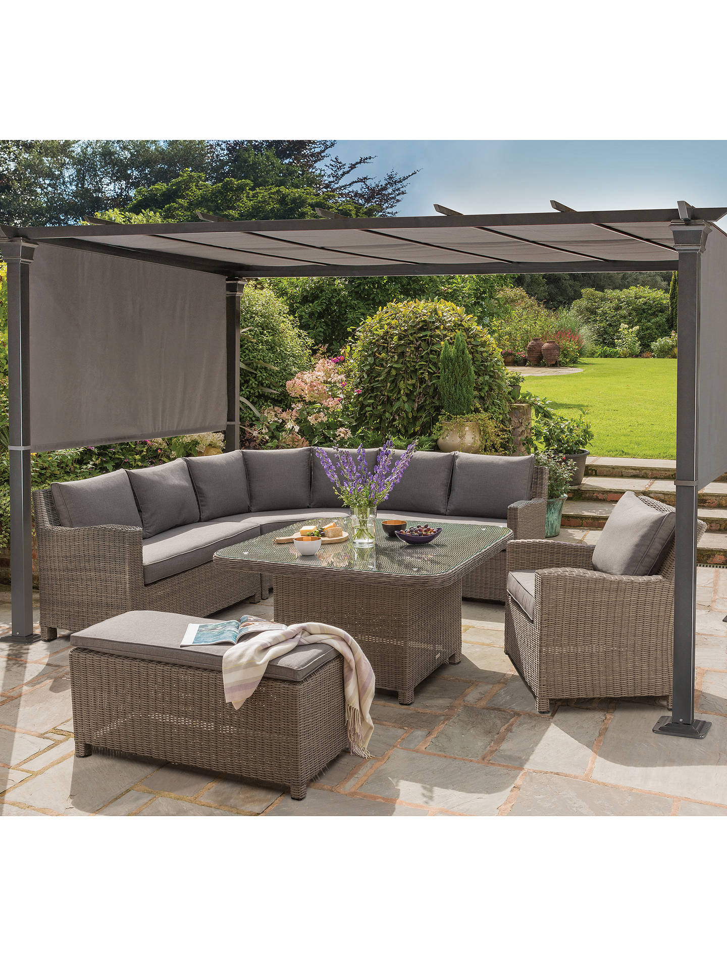 KETTLER Palma Grande 6-Seat Garden Corner Sofa and Table Set, Rattan