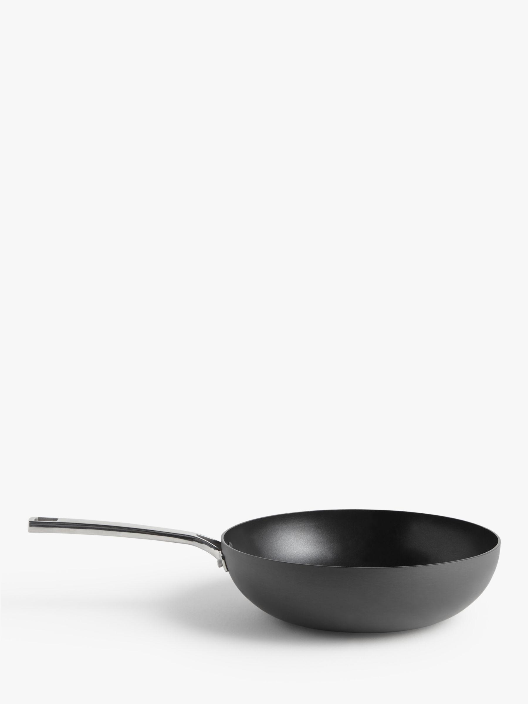 John Lewis & Partners Hard Anodised Aluminium Non-Stick Wok, 28cm, Grey