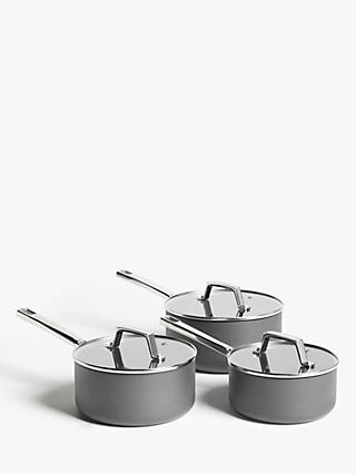 John Lewis & Partners Hard Anodised Aluminium Non-Stick Saucepans, 3 Pieces
