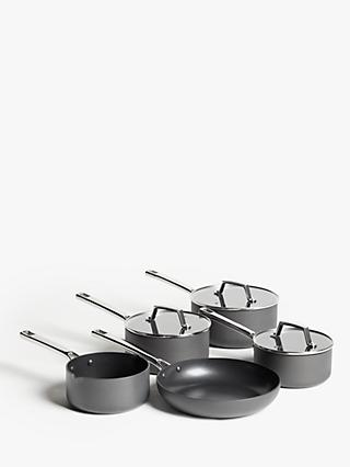 John Lewis & Partners Hard Anodised Aluminium Non-Stick Saucepan/Frying Pan Set, 5 Pieces