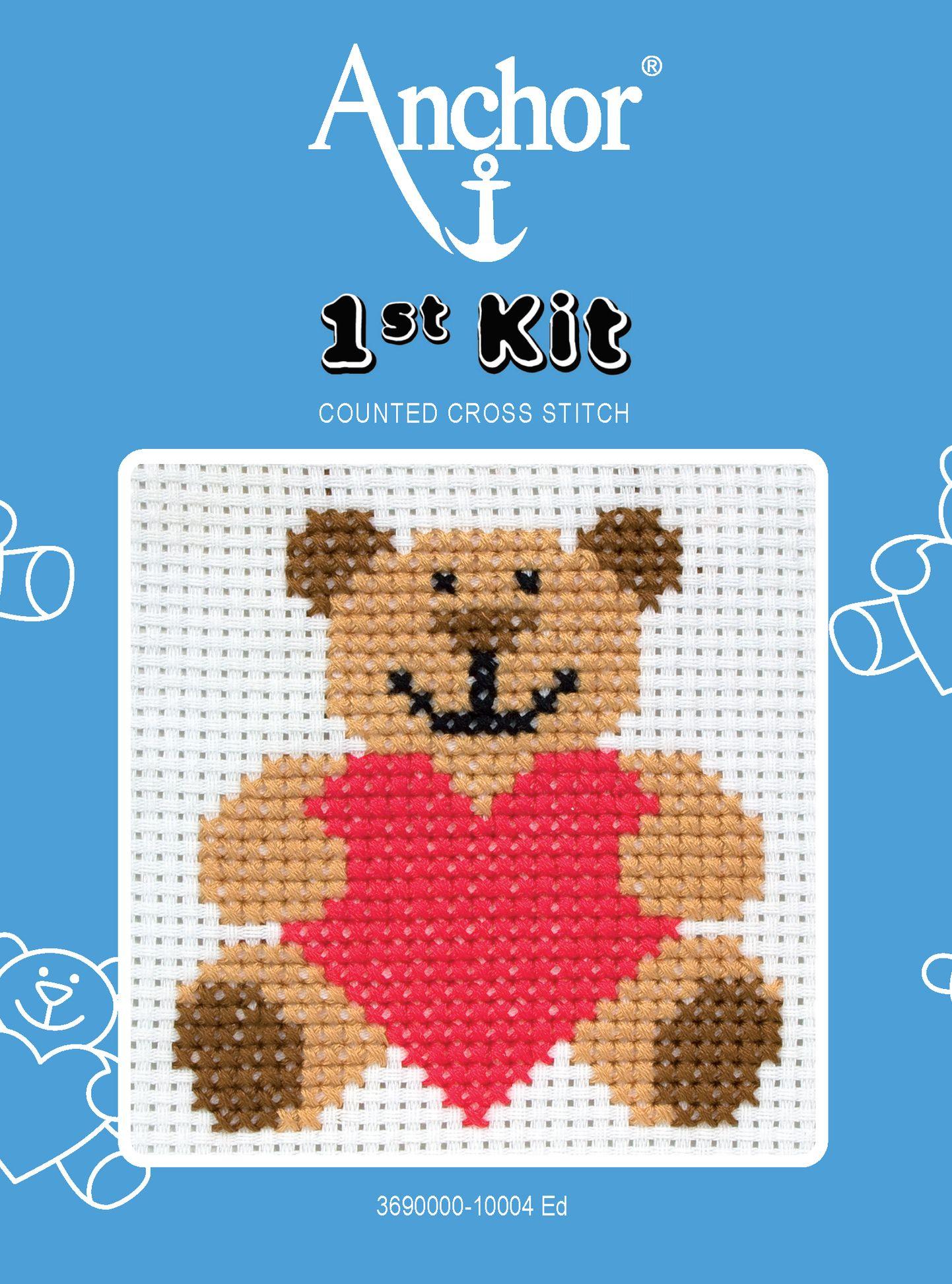 Anchor Anchor Heart Teddy Starter Cross Stitch Kit