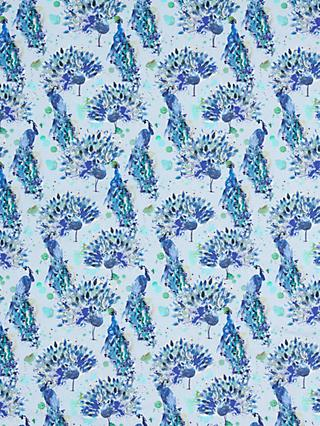 John Lewis & Partners Painted Peacock Print Fabric, Blue