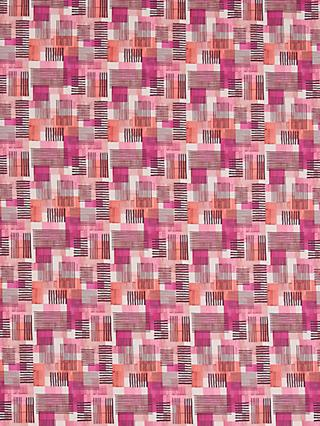 John Lewis & Partners Squares and Lines Print Fabric, Pink/Red