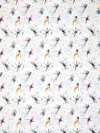 John Lewis & Partners Painted Dragonflies Print Fabric, Grey/Multi