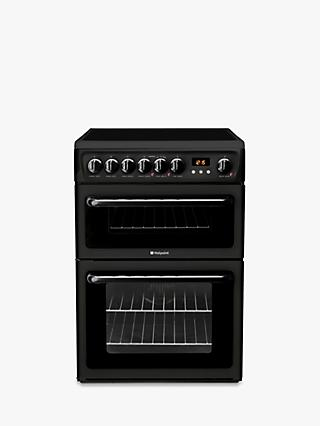 Hotpoint HAE60K S Double Electric Cooker, A Energy Rating, Black