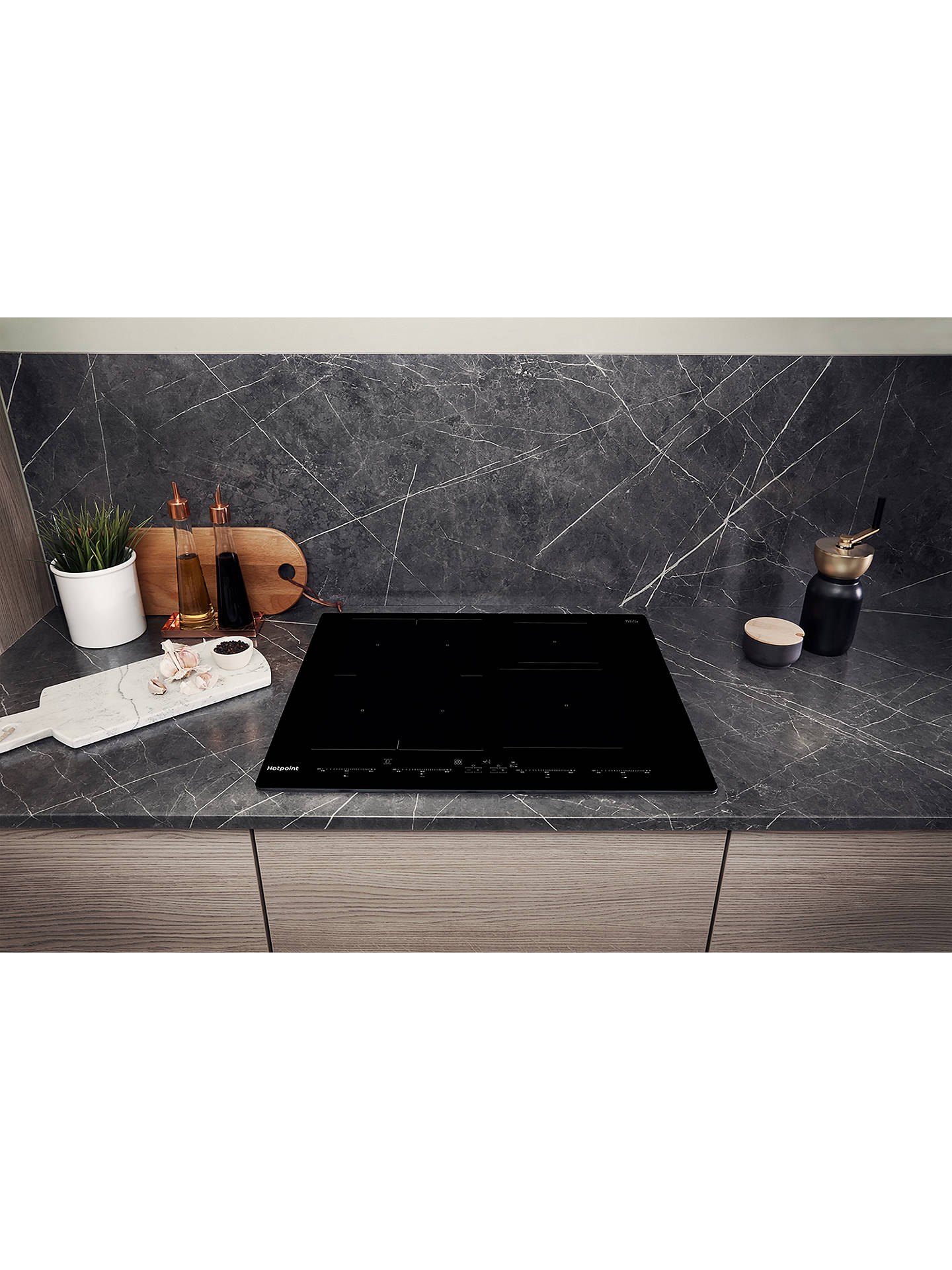 BuyHotpoint ACO654NE 65cm Induction Hob, Black Online at johnlewis.com