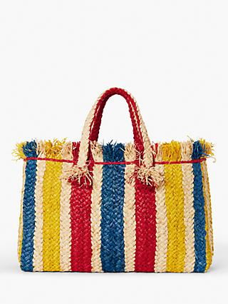 John Lewis & Partners St Tropez Stripe Weave Shopper Bag, Multi
