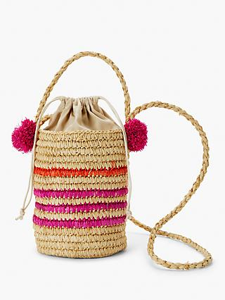 John Lewis & Partners Pom Pom Stripe Straw Bucket Bag, Natural/Multi