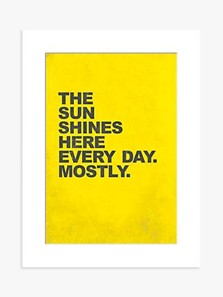 Nick Cranston - The Sun Shines Here Unframed Print with Mount, 40 x 30cm, Yellow