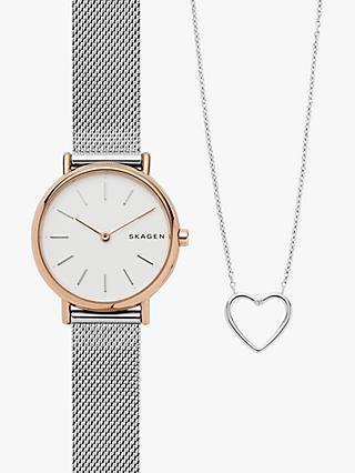 ff5db6892302 Skagen Women s SKW1106 Bracelet Strap Watch and Heart Necklace Set