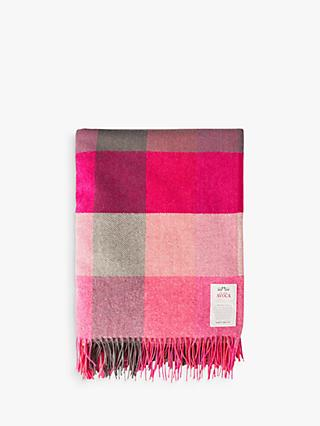 Avoca Pink Fields Lambswool Throw, Pink