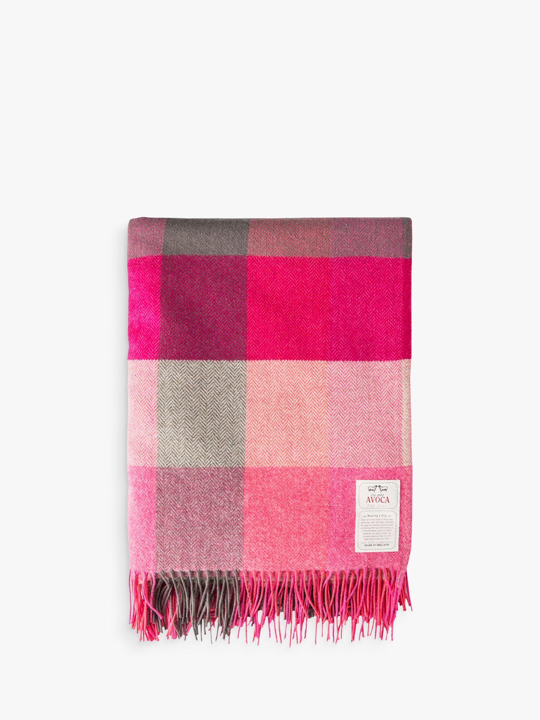 Avoca Avoca Pink Fields Lambswool Throw, Pink