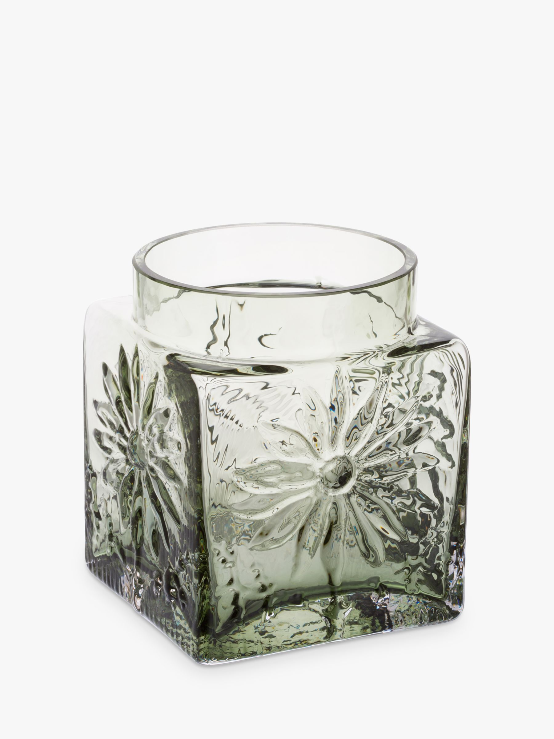 Dartington Crystal Dartington Crystal Marguerite Square Vase, Olive, H12cm