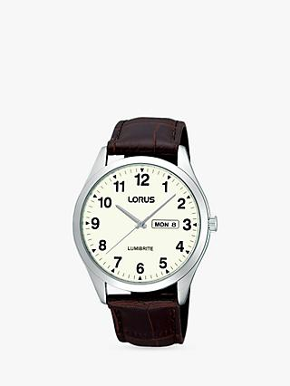 Lorus RJ645AX9 Men's Day Date Leather Strap Watch, Brown/White