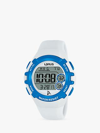 Lorus R2393LX9 Women's Digital Silicone Strap Watch, White/Grey