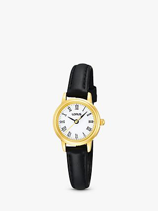 Lorus RG294HX9 Women's Round Dial Leather Strap Watch, Black/Gold