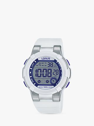 Lorus R2359KX9 Men's Digital Silicone Strap Watch, White/Grey