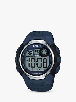 Lorus R2387KX9 Men's Digital Silicone Strap Watch, Navy/Grey