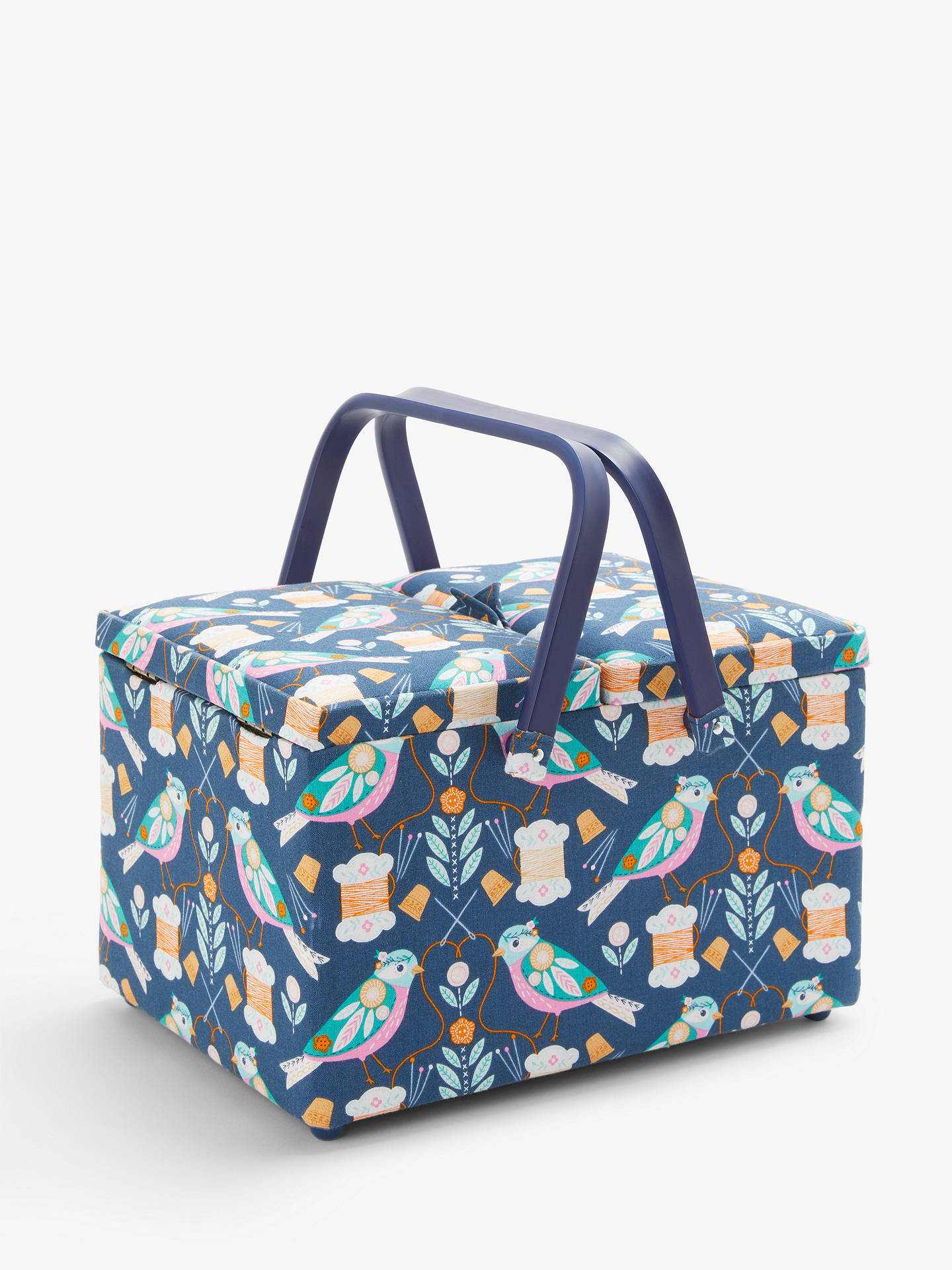 Incredible John Lewis Partners Bird Print Twin Lid Sewing Basket Blue Gmtry Best Dining Table And Chair Ideas Images Gmtryco