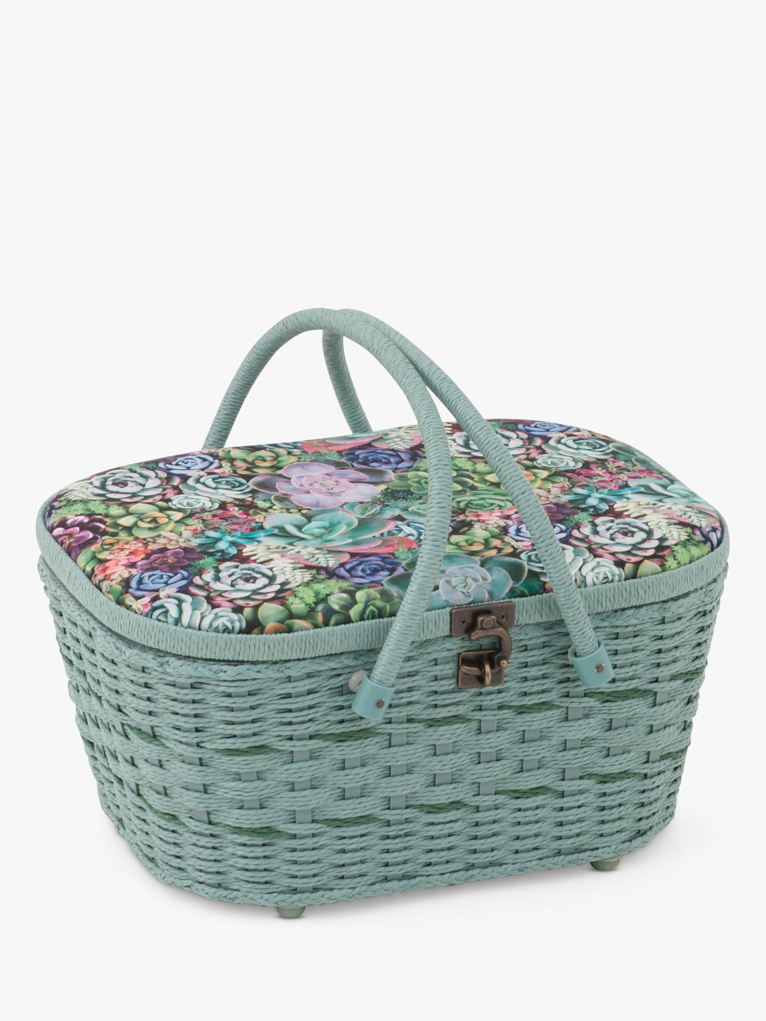 Groves Groves Succulent Weave Sewing Box, Green