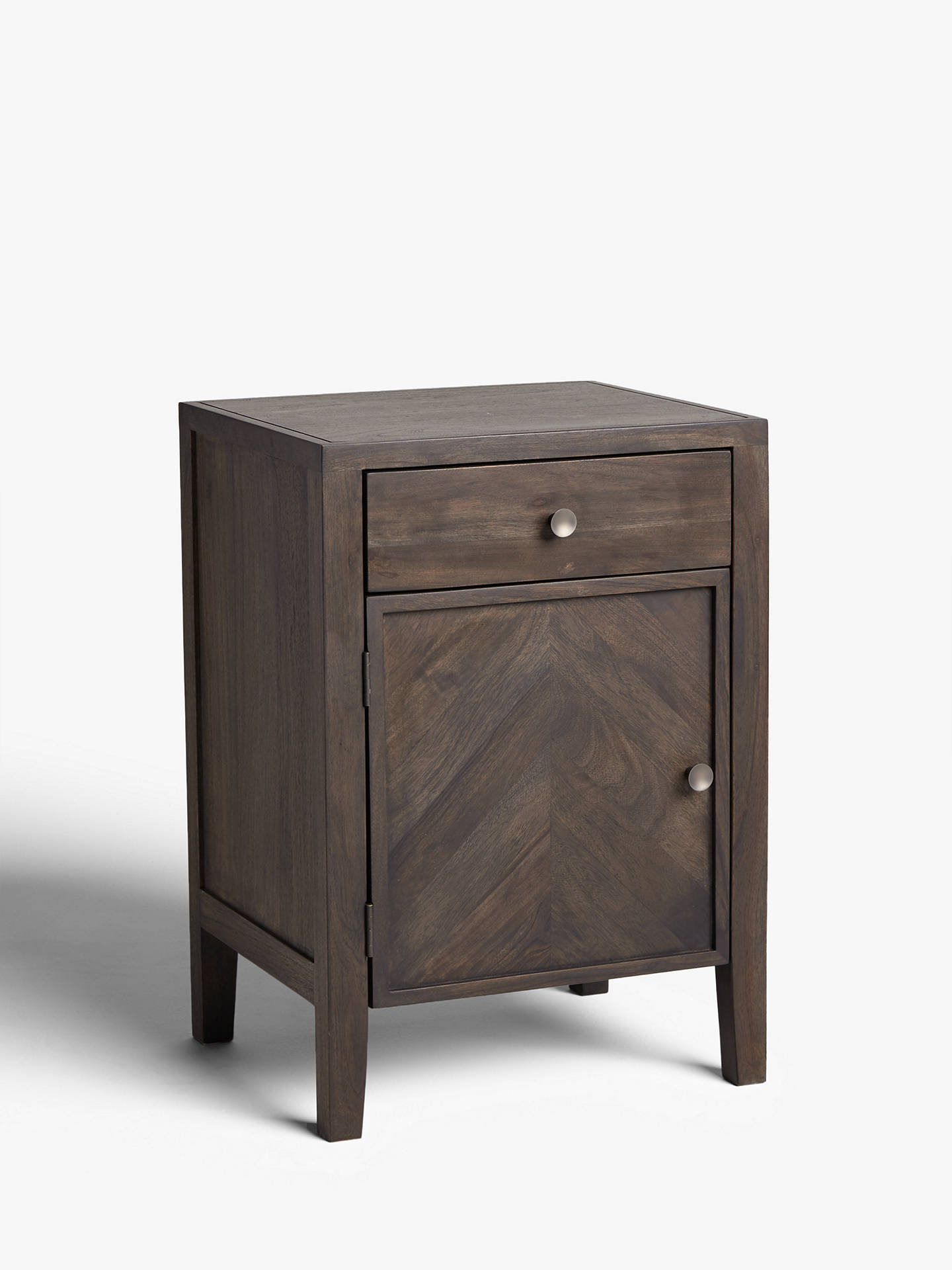 Buy John Lewis & Partners Padma 1 Door Parquet Bedside Table, Grey/Nickel Online at johnlewis.com