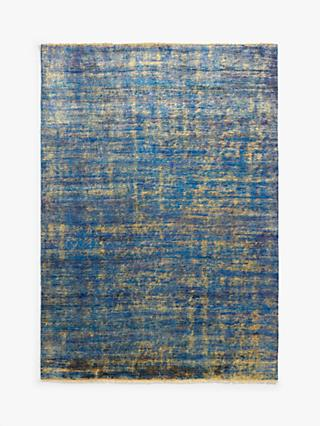 Luke Irwin Hand Knotted Sari Silk Plain Rug, Blue