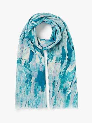 John Lewis & Partners Cotton and Wool Serene Abstract Scarf, Sea Green Mix