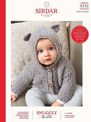 92a469c87 Sirdar Snuggly Bouclette Baby Hooded Cardigan Knitting Pattern