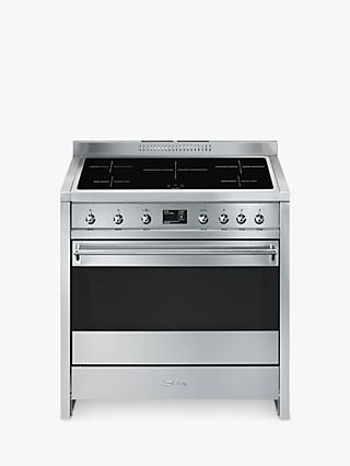 Smeg A1PYID-9 90cm Single Electric Cooker, A+ Energy Rating, Stainless Steel