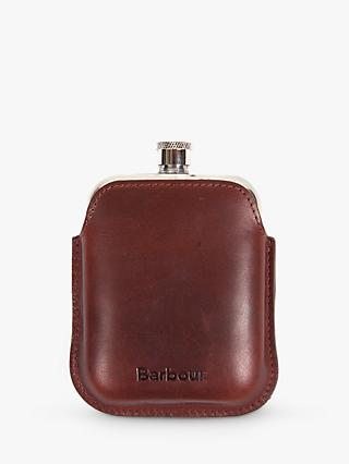 Barbour Stainless Steel Hip Flask and Leather Case, Brown