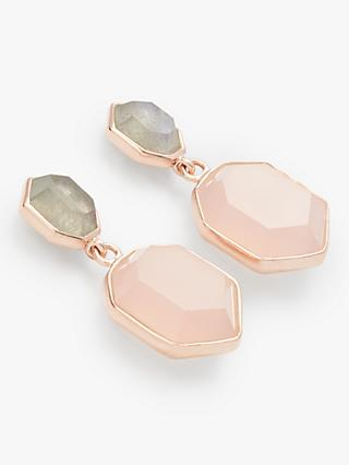 John Lewis & Partners Gemstones Double Hexagonal Drop Earrings