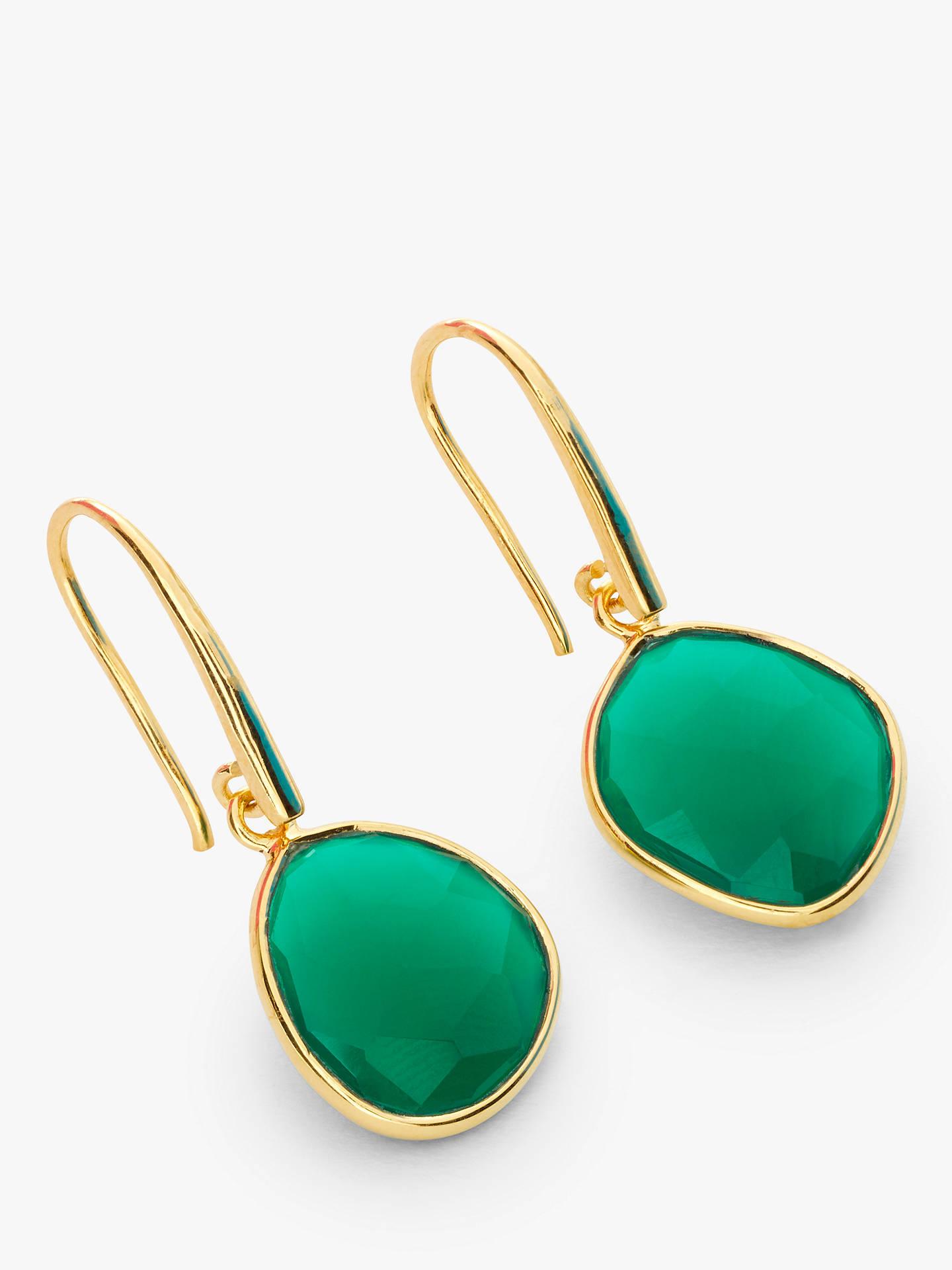 John Lewis Partners Gemstones Hook Drop Earrings Green Onyx