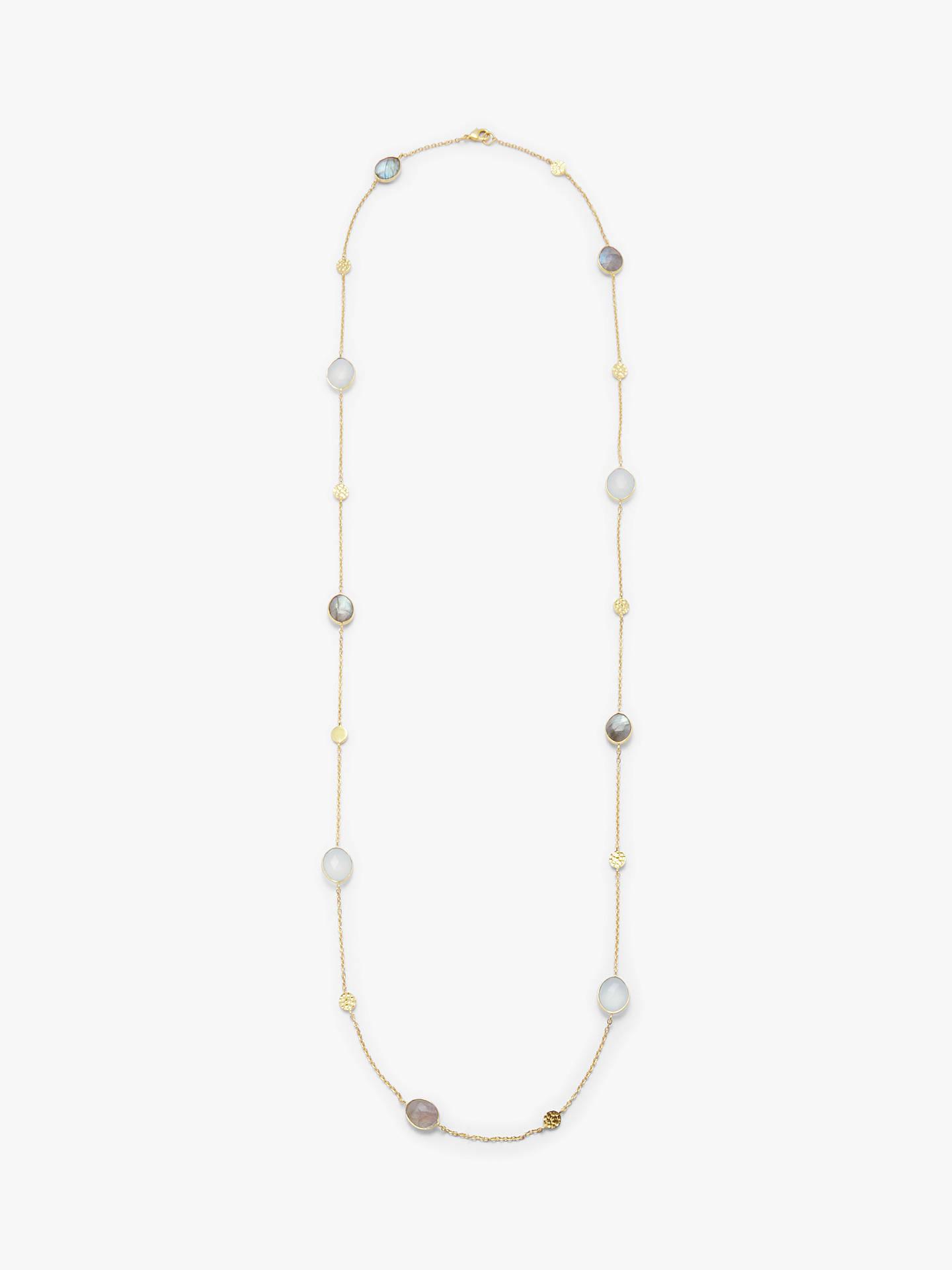 70565e5ccc0e6 John Lewis & Partners Gemstones Multi Stone Long Chain Necklace, Aqua  Chalcedony/Labradorite