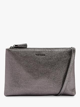 Ted Baker Maceyy Leather Double Zip Cross Body Bag, Gunmetal Grey