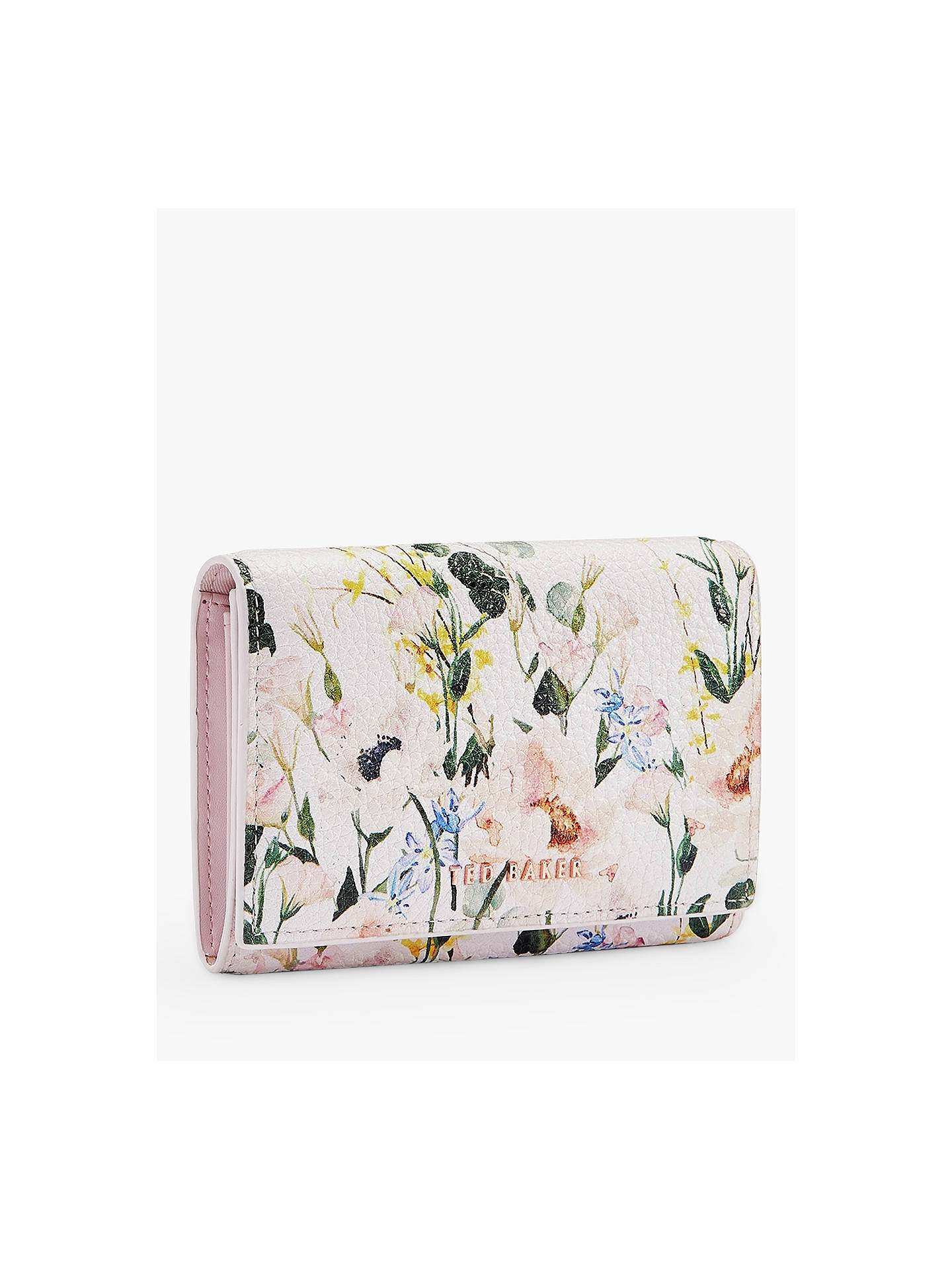 Ted Baker Esma Floral Print Leather Foldover Purse Pink