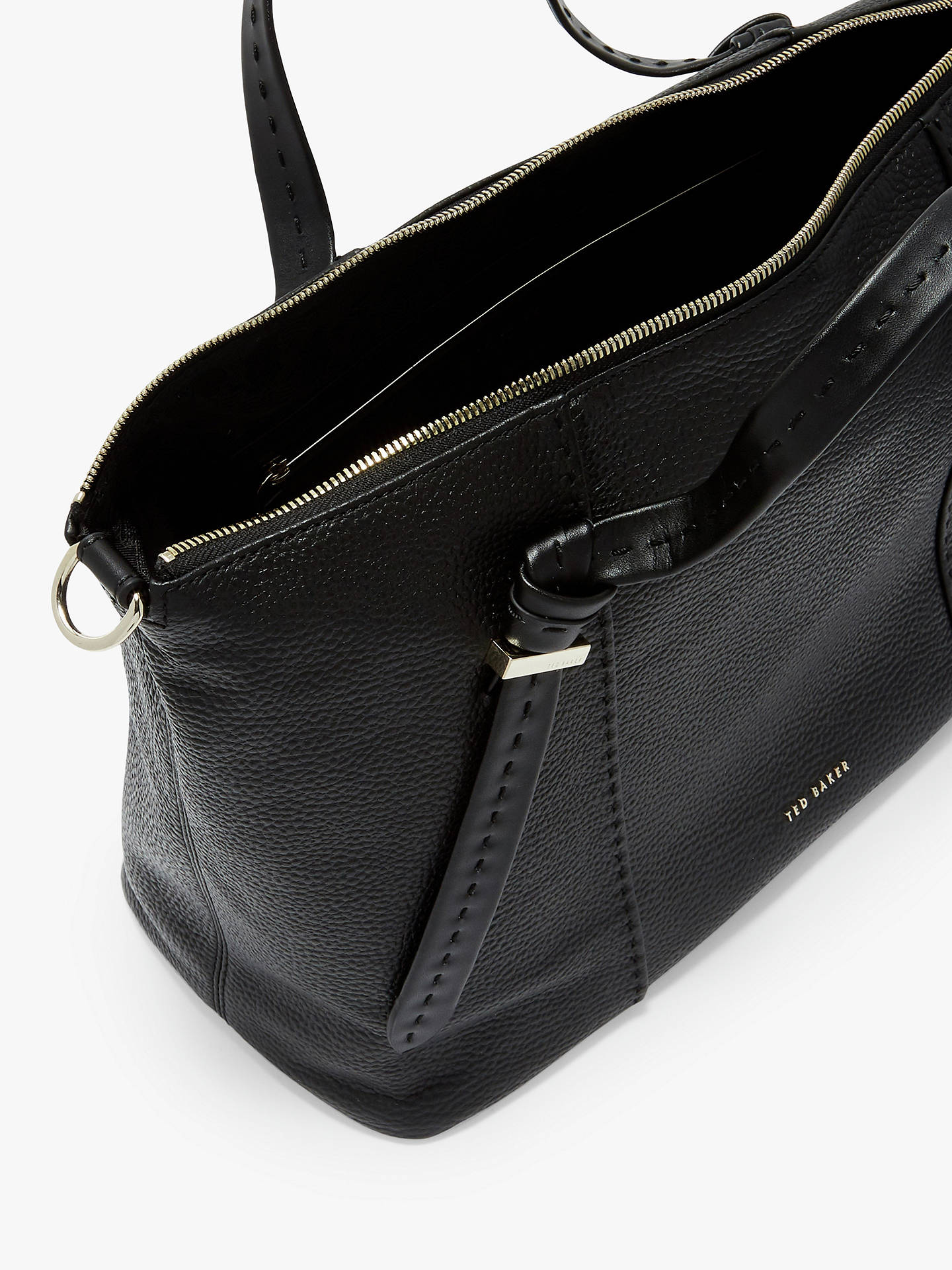 23bc9043937 Buy Ted Baker Oellie Knotted Handle Large Leather Tote Bag, Black Online at  johnlewis.