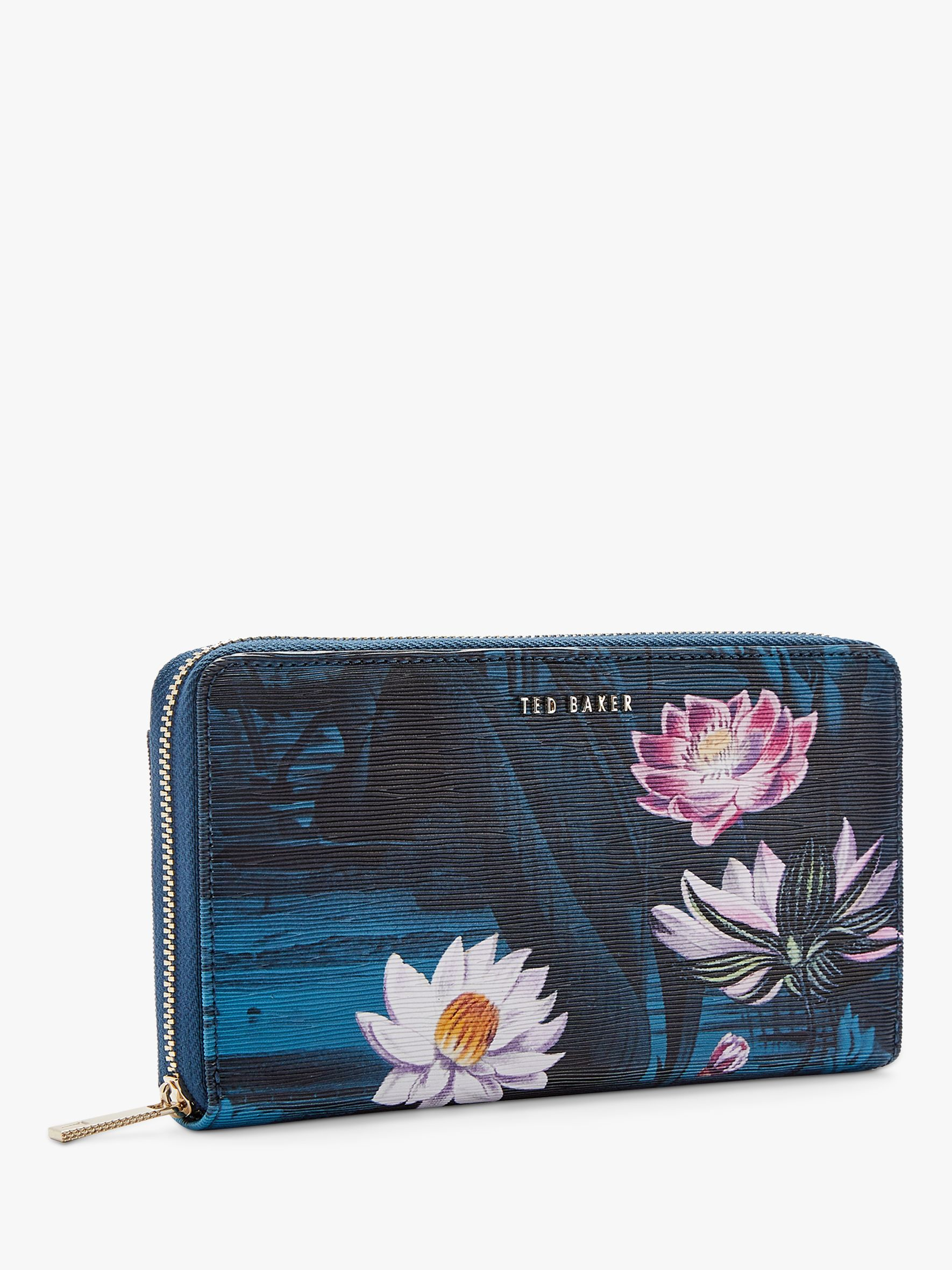 wholesale dealer db1bf b78ca Ted Baker Dotti Floral Leather Matinee Zip Around Purse, Teal/Multi