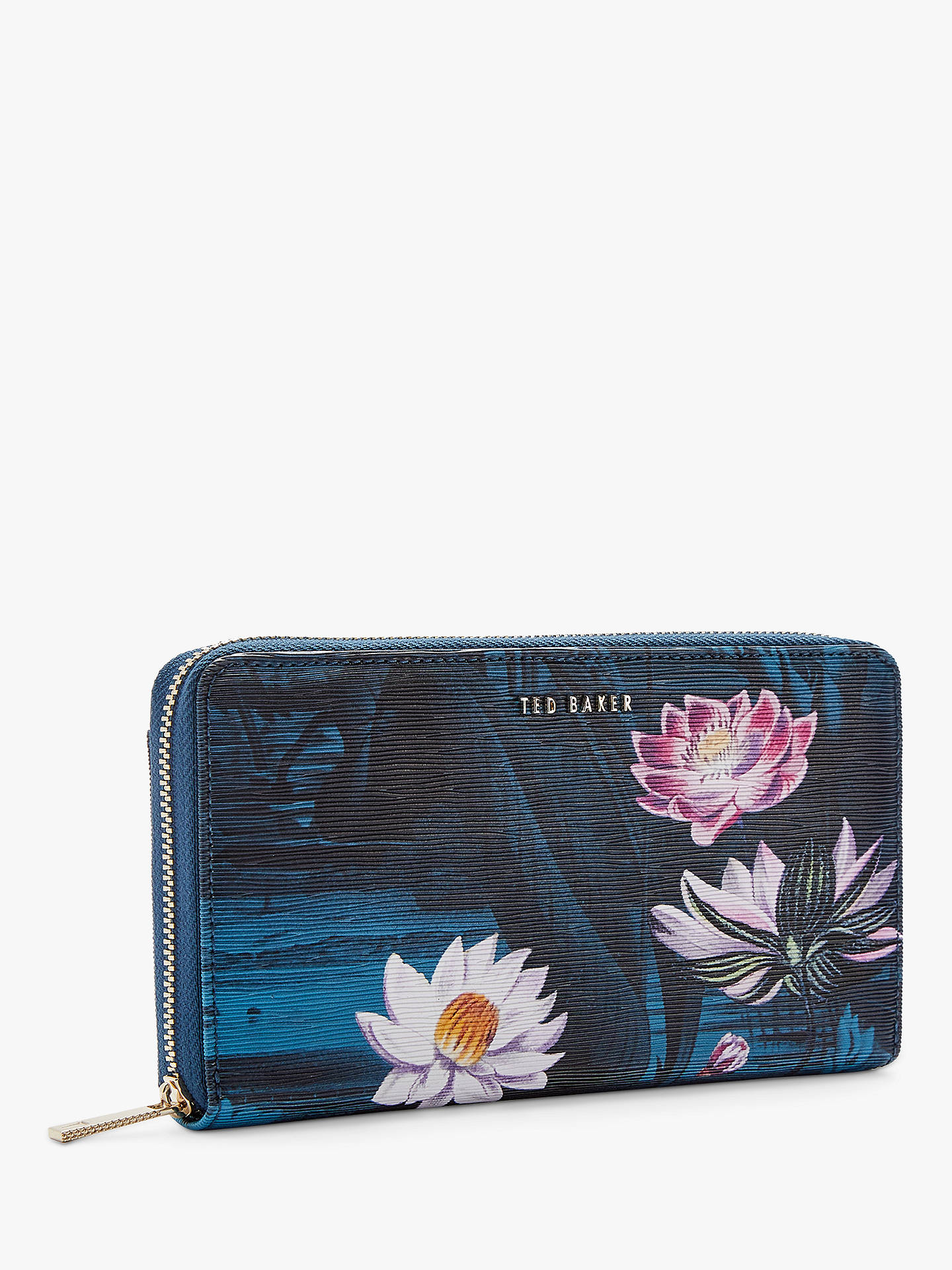 ce6566e50c Buy Ted Baker Dotti Floral Leather Matinee Zip Around Purse, Teal/Multi  Online at ...