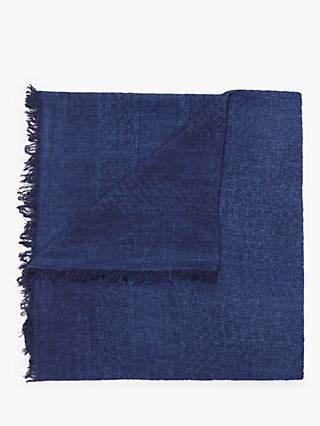 Nice Things Jacquard Delave Cotton Scarf, Dark Navy