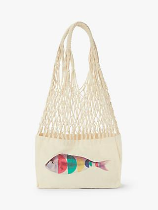 Nice Things Fish Print Mesh Bag, Ecru