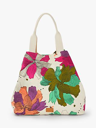 Nice Things Beach Flower Print Cotton Bag, Ecru/Multi