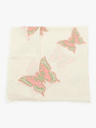 Nice Things Jacquard Butterflies Square Cotton Scarf, Ecru/Multi