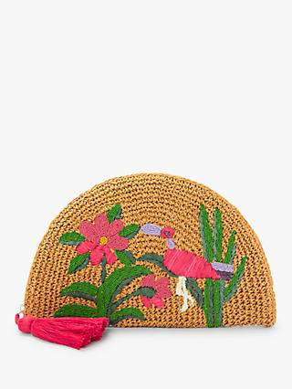 Nice Things Embroidered Wristlet Bag, Beige/Multi