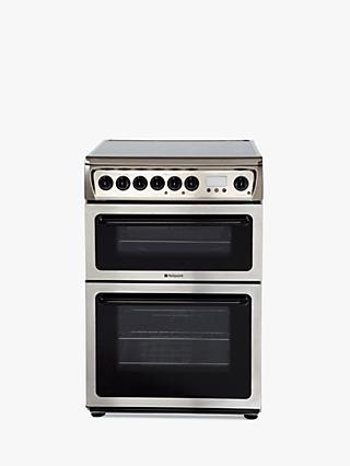 Hotpoint HAE60X S Double Electric Cooker, A Energy Rating, 60cm Wide, Inox