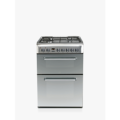 Indesit KDP60SE Double Duel Fuel Cooker, A Energy Rating, Stainless Steel